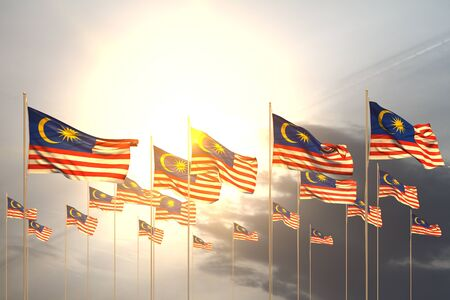 cute many Malaysia flags in a row on sunset with empty place for content - any feast flag 3d illustration