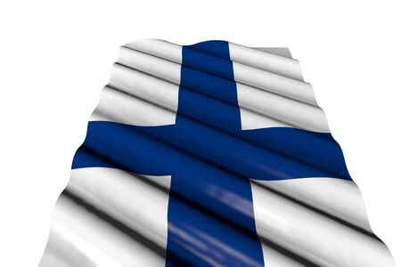 beautiful glossy flag of Finland with large folds lie isolated on white, perspective view - any occasion flag 3d illustration  Banco de Imagens