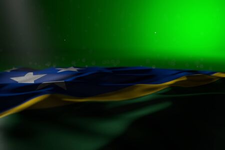 nice dark picture of Solomon Islands flag lying flat on green background with bokeh and free space for content - any holiday flag 3d illustration