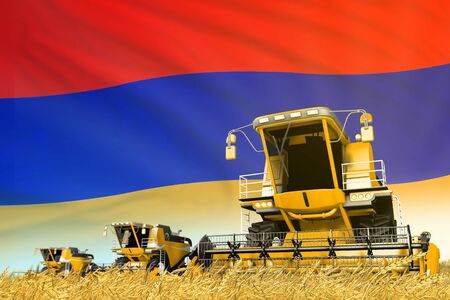 industrial 3D illustration of yellow grain agricultural combine harvester on field with Armenia flag background, food industry concept Banco de Imagens - 134980608