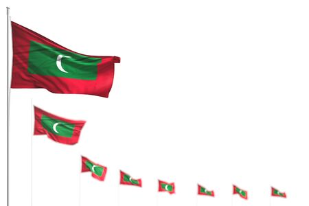beautiful holiday flag 3d illustration  - Maldives isolated flags placed diagonal, picture with soft focus and place for content