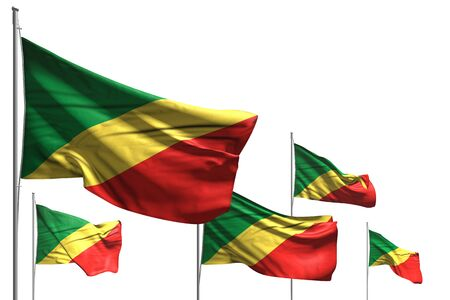 beautiful five flags of Congo are waving isolated on white - any celebration flag 3d illustration Banco de Imagens - 134981216