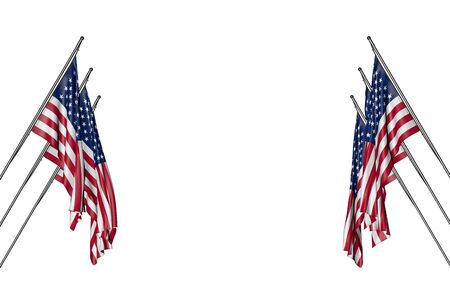 beautiful many USA flags hangs on in corner poles from left and right sides isolated on white - any occasion flag 3d illustration