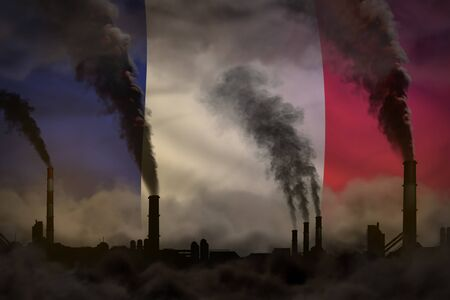 Dark pollution, fight against climate change concept - industrial 3D illustration of factory pipes dense smoke on France flag background