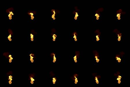 24 renders of candle or cigarette lighter glowing flames isolated on black, christmas or happy new year lovely candles concept - 3D illustration of objects