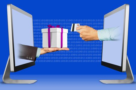 digital concept, hands from displays. hand with gift box and hand with credit card . 3d illustration