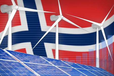 Norway solar and wind energy digital graph concept  - modern energy industrial illustration. 3D Illustration