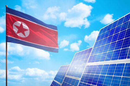 Democratic Peoples Republic of Korea (North Korea) alternative energy, solar energy concept with flag - symbol of fight with global warming - industrial illustration, 3D illustration Reklamní fotografie