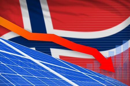 Norway solar energy power lowering chart, arrow down  - alternative energy industrial illustration. 3D Illustration