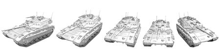 Cartoon style outlined isolated 3D heavy tank with fictional design, highly detailed tank fight concept - military 3D Illustration Zdjęcie Seryjne