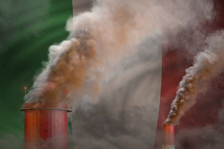 Global warming concept - heavy smoke from industrial chimneys on Italy flag background with place for your logo - industrial 3D illustration
