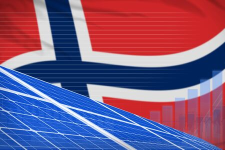 Norway solar energy power digital graph concept  - green energy industrial illustration. 3D Illustration