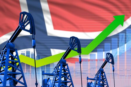 Norway oil industry concept, industrial illustration - growing graph on Norway flag background. 3D Illustration