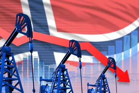 Norway oil industry concept, industrial illustration - lowering, falling graph on Norway flag background. 3D Illustration