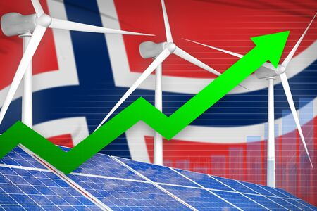 Norway solar and wind energy rising chart, arrow up  - environmental energy industrial illustration. 3D Illustration
