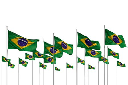 pretty independence day flag 3d illustration  - many Brazil flags in a row isolated on white with free place for your text Zdjęcie Seryjne