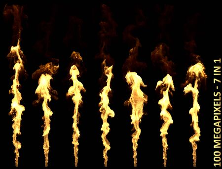 7 very high resolution beautiful isolated flamethrower or dragon breath fire images for Halloween or any design purpose 3D illustration of object Stock fotó