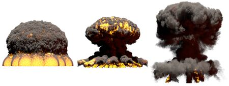 3 big different phases fire mushroom cloud explosion of atom bomb with smoke and flames isolated on white - 3D illustration of explosion Stockfoto