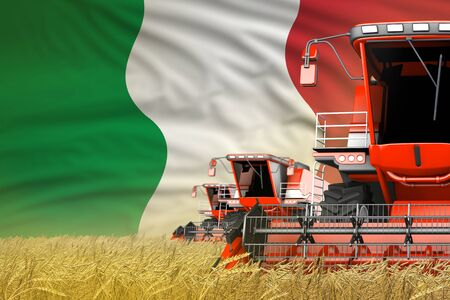 industrial 3D illustration of 3 red modern combine harvesters with Italy flag on rural field - close view, farming concept