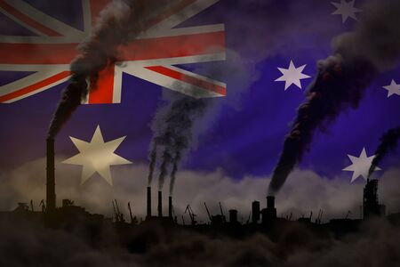 Dark pollution, fight against climate change concept - industrial 3D illustration of factory chimneys heavy smoke on Australia flag background
