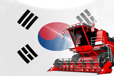 Digital industrial 3D illustration of red advanced wheat combine harvester on Republic of Korea (South Korea) flag - agriculture equipment innovation concept