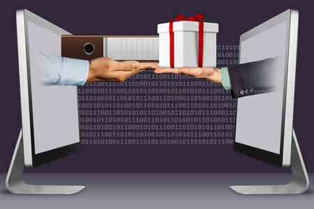 modern concept, hands from computers. folder and hand with gift box . 3d illustration Stock Photo