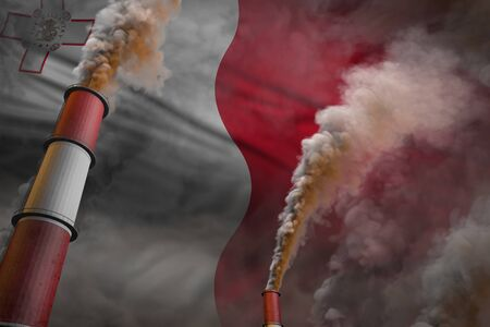 Malta pollution fight concept - two large industrial pipes with dense smoke on flag background, industrial 3D illustration