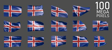14 various realistic renders of Iceland flag isolated on grey background - 3D illustration of object