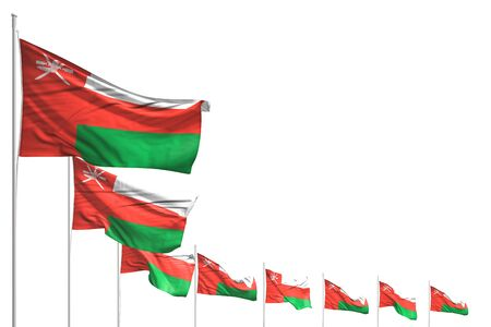 nice celebration flag 3d illustration  - many Oman flags placed diagonal isolated on white with place for your text