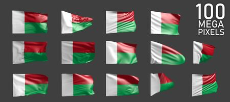 14 various images of Madagascar flag isolated on grey background - 3D illustration of object