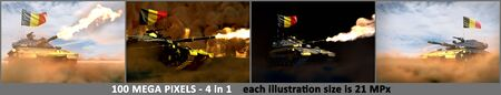 Belgium army concept - 4 high resolution pictures of heavy tank with not existing design with Belgium flag, military 3D Illustration