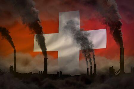 Dark pollution, fight against climate change concept - industry chimneys heavy smoke on Switzerland flag background - industrial 3D illustration Stock Illustration - 135503347