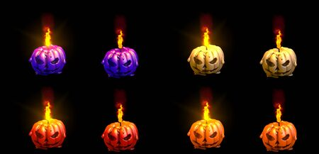 beautiful thick halloween pumpkin glowing beeswax candle with and without highlight isolated render, festive concept - 3D illustration of objects Banco de Imagens