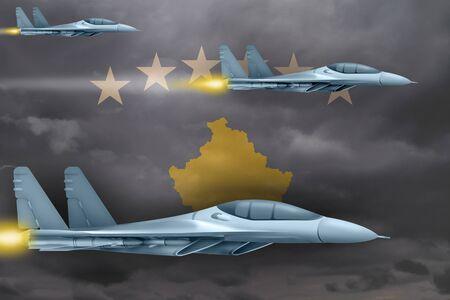 Kosovo air strike concept. Modern war airplanes attack on Kosovo flag background. 3d Illustration