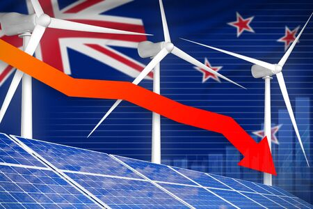 New Zealand solar and wind energy lowering chart, arrow down  - renewable energy industrial illustration. 3D Illustration