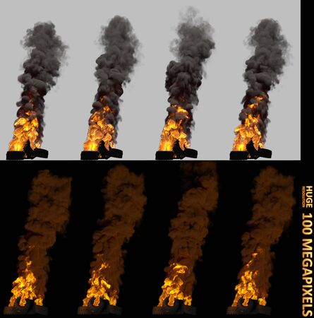 very high resolution burning pile or barricade of car tires isolated, revolt concept - 3D illustration of object Imagens