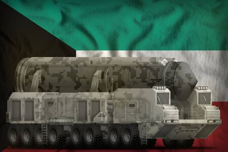 intercontinental ballistic missile with city camouflage on the Kuwait flag background. 3d Illustration