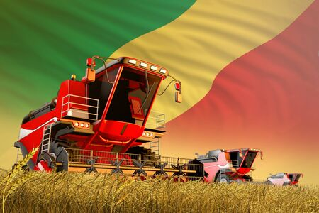 agricultural combine harvester working on wheat field with Congo flag background, food production concept - industrial 3D illustration