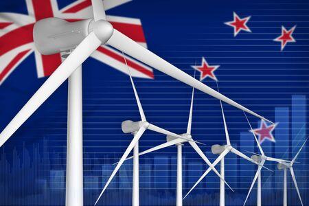 New Zealand wind energy power digital graph concept  - renewable energy industrial illustration. 3D Illustration Banco de Imagens