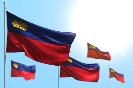nice any holiday flag 3d illustration  - 5 flags of Liechtenstein are waving against blue sky image with selective focus