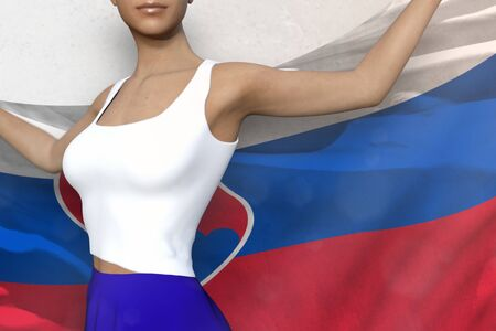 pretty girl in bright skirt is holding Slovakia flag in her hands behind her on the white background - flag concept 3d illustration Banco de Imagens