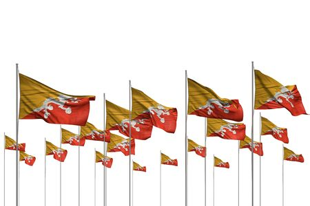 nice many Bhutan flags in a row isolated on white with empty space for text - any feast flag 3d illustration