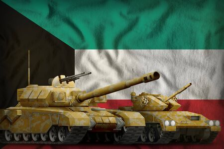 tanks with orange camouflage on the Kuwait flag background. Kuwait tank forces concept. 3d Illustration