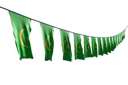 pretty many Mauritania flags or banners hanging diagonal with perspective view on rope isolated on white - any holiday flag 3d illustration Banco de Imagens