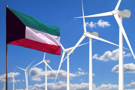 Kuwait alternative energy, wind energy industrial concept with windmills and flag - alternative renewable energy industrial illustration, 3D illustration