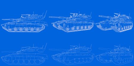drawn schema of outlined isolated 3D modern tank with design that not exists, high detail patriotism concept - military 3D Illustration