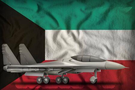 fighter, interceptor on the Kuwait flag background. 3d Illustration Banco de Imagens