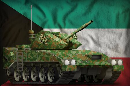 light tank apc with summer camouflage on the Kuwait flag background. 3d Illustration