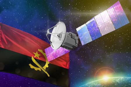 Satellite with Angola flag, space communications technology concept - 3D Illustration
