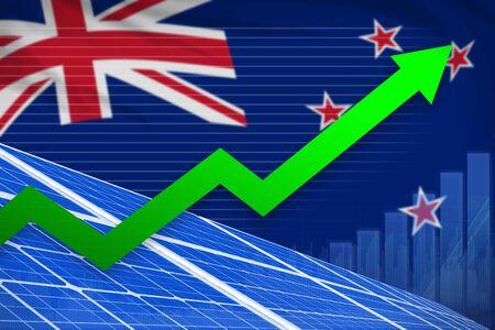 New Zealand solar energy power rising chart, arrow up  - modern energy industrial illustration. 3D Illustration